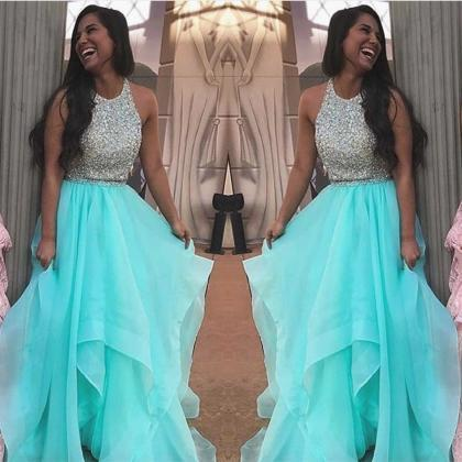 2 Piece Prom Dresses, Light Blue Pr..