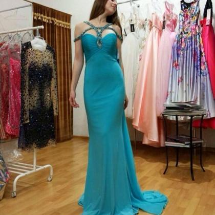 Mermaid Evening Dress, Light Blue E..