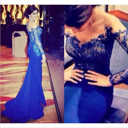 Royal Blue Evening Dress, Lace Even..