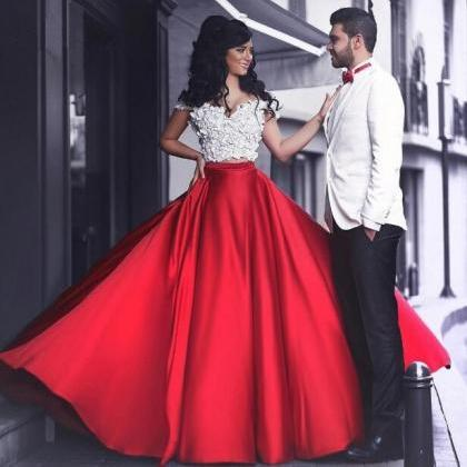 2 Piece Prom Dresses, Red Prom Dres..