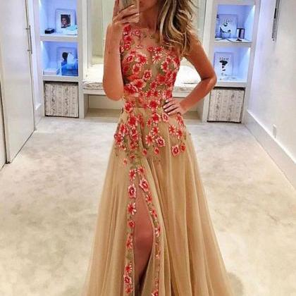 Embroidery Lace Prom Dress, A Line ..