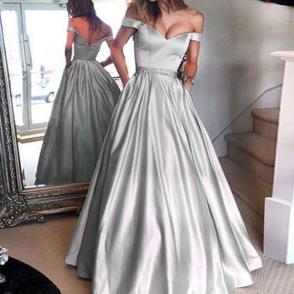 Silver Prom Dress, A Line Prom Dres..