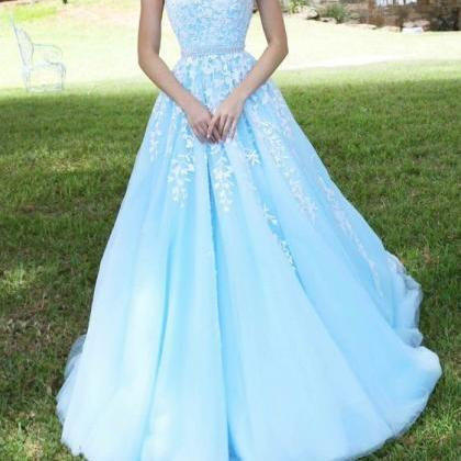 Light Blue Prom Dress, Lace Appliqu..