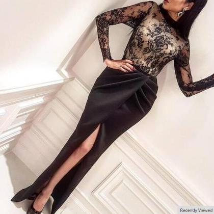 Black Evening Dress, Mermaid Evenin..