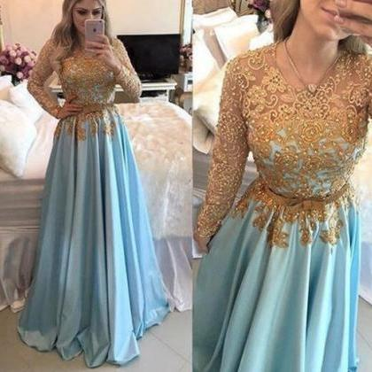 Blue Prom Dress, Long Sleeve Prom D..