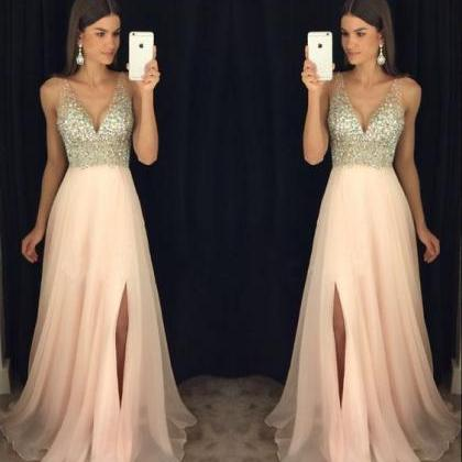 V Neck Prom Dress, Blush Pink Prom ..