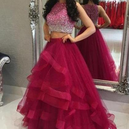 Hot Pink Prom Dress, Beaded Prom Dr..
