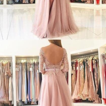 Long Sleeve Prom Dress, Pink Prom D..