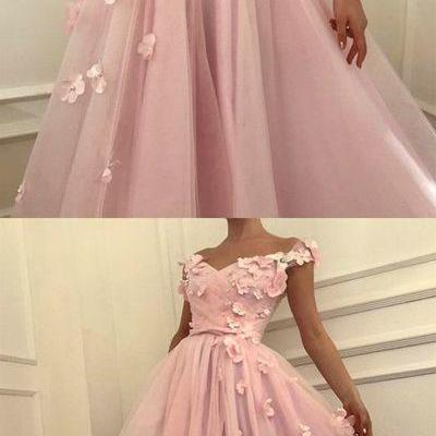 Pink Prom Dress, Handmade Flowers P..
