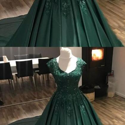 cap sleeve hunter green prom dresse..