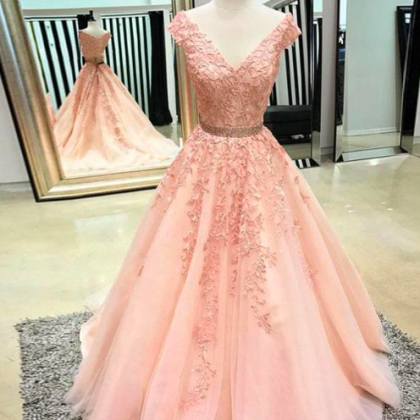 cap sleeve v neck pink prom dresses..