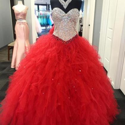 red quinceanera dresses crystals be..