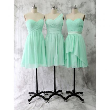 mint green bridesmaid dresses short..