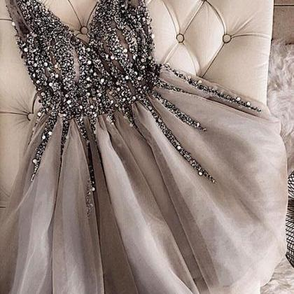 gray prom dresses short v neck bead..