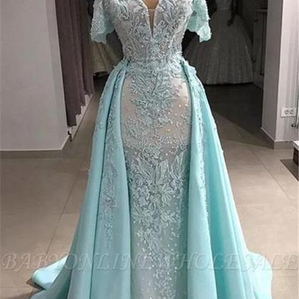 detachable skirt lace applique prom..
