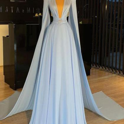 blue prom dresses long chiffon bead..