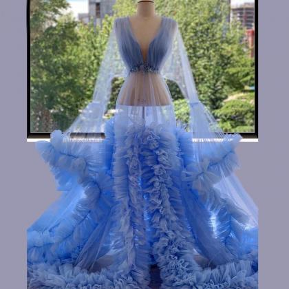 sheer neck blue prom dresses long f..