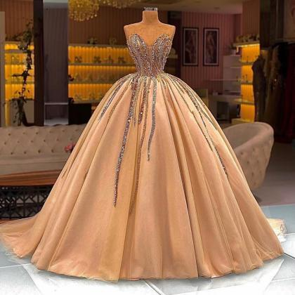 ball gown prom dresses, gold prom d..