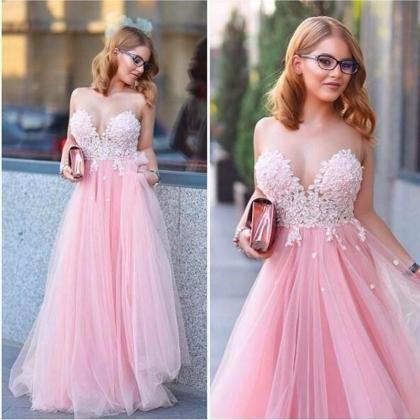 A Line Puffy Lace Tulle Pink Prom D..