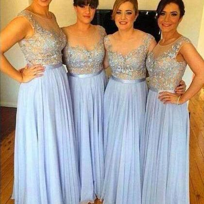 Cap Sleeve Blue Long Bridesmaid Dre..