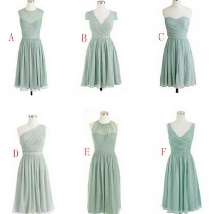 Sage Bridesmaid Dresses, Mismatched..