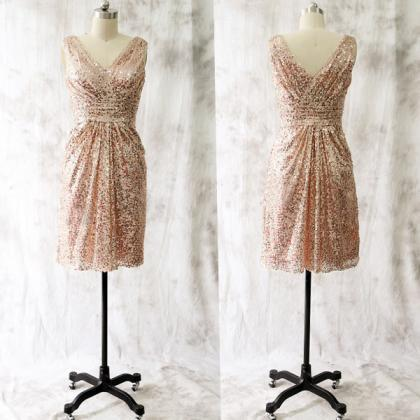 Rose Sequins Short Bridesmaid Dress..