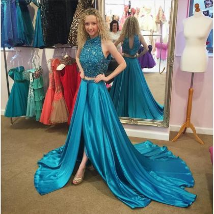 Teal Green Two Piece Prom Dresses, ..