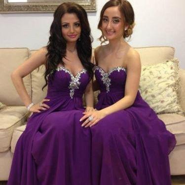 Rhinestone Sparkly Purple Bridesmai..