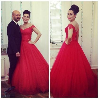Red Wedding Dress, Tulle Wedding Dr..