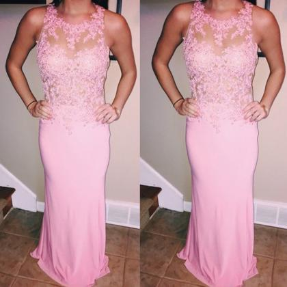 Pink Prom Dress, Mermaid Prom Dress..