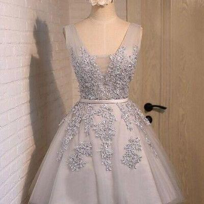 Short Prom Dresses, Lace Applique P..