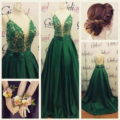 Green Prom Dress, Deep V Neck Prom ..