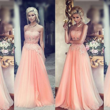 Peach Prom Dress, Lace Prom Dress, ..