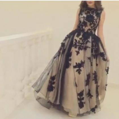 Black Lace Prom Dress, Saudi Arabic..