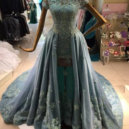 Dusty Blue Prom Dress, Tulle Prom D..