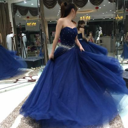 Navy Blue Prom Dress, Elegant Prom ..