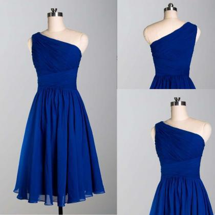 One Shoulder Bridesmaid Dress, Blue..