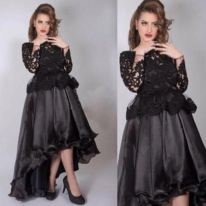 High Low Prom Dress, Black Prom Dre..