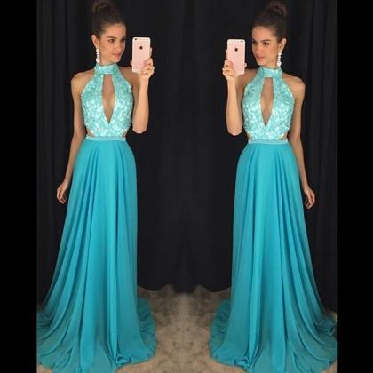Turquoise Blue Prom Dress, High Nec..