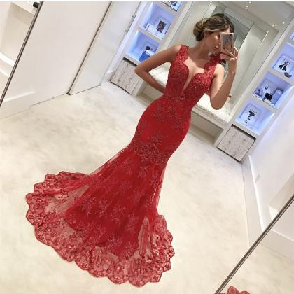 Red Evening Dress, Mermaid Evening ..