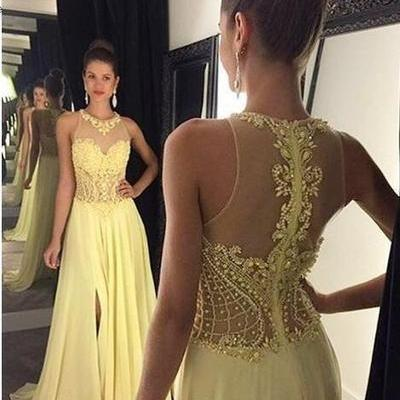 Yellow Prom Dress, Beaded Prom Dres..