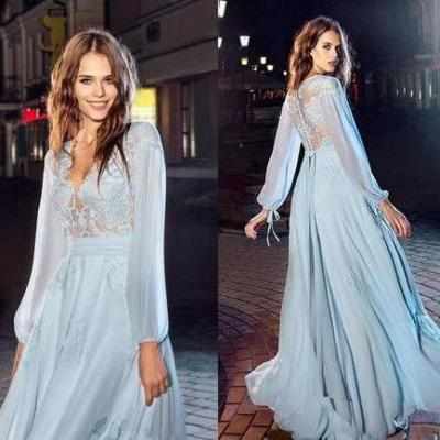 Blue Prom Dress, Long Sleeve Prom Dress, Lace Prom Dress, Elegant Prom Dress, Prom Dresses 2018, Cheap Prom Dress, Prom Dresses Long, A Line Prom Dress, Vestido De Festa
