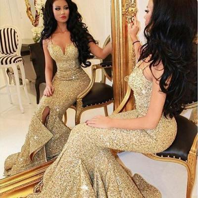 Gold Sequin Mermaid Long Sexy Evening Dress, Cheap Sparkly Formal Dress, Spaghetti Strap Evening Dress, Fish Tail Bling Evening Dress