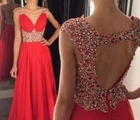 Red Prom Dress, Bead..
