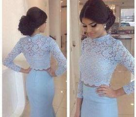 Long Sleeve Lace Blu..