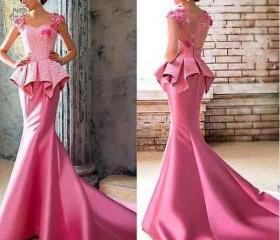 Pink Satin Lace Even..
