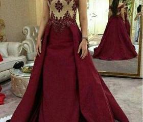 Wine Red Prom Dress,..