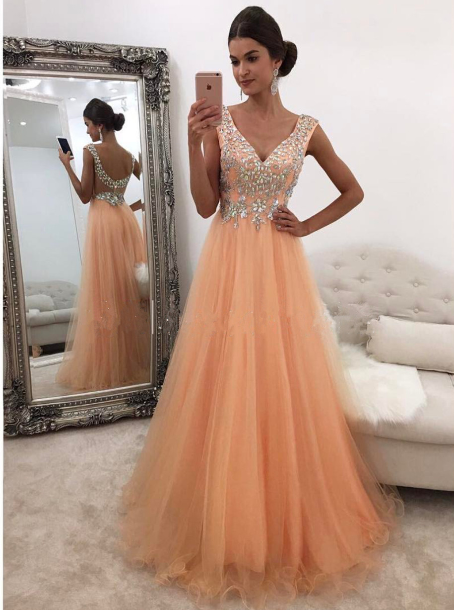 Peach Prom Dress, V Neck Prom Dress
