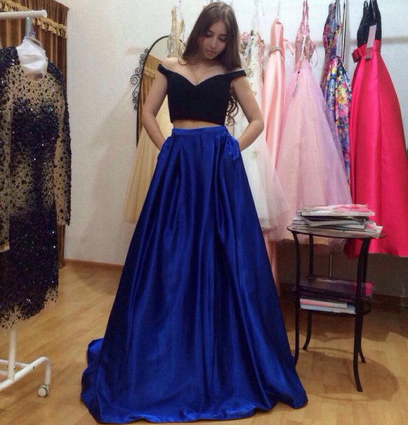 Royal Blue Prom Dress 2 Piece Prom Dresses A Line Prom Dress