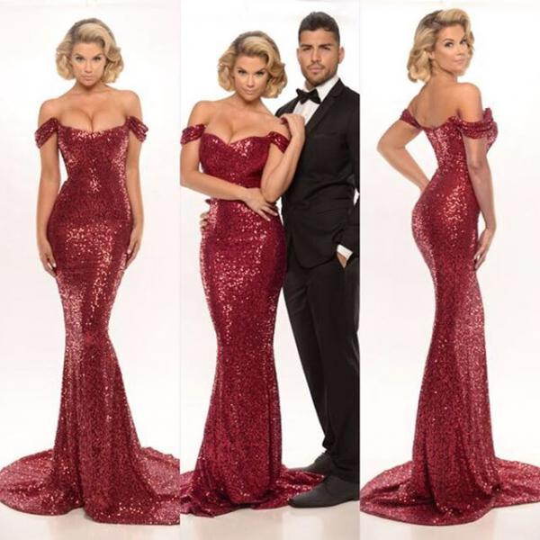 Burgundy Bridesmaid Dress Sequined Off Shoulder Mermaid